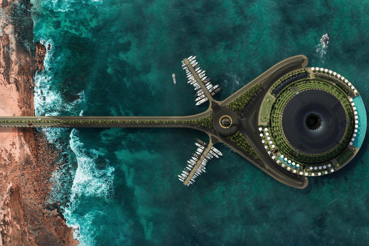 The Eco-Floating Hotel would be connected to the shore with a pier