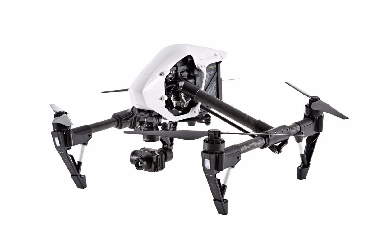 The DJI Zenmuse XT brings thermal imaging capabilities to the Inspire 1 (pictured) and M100 platforms