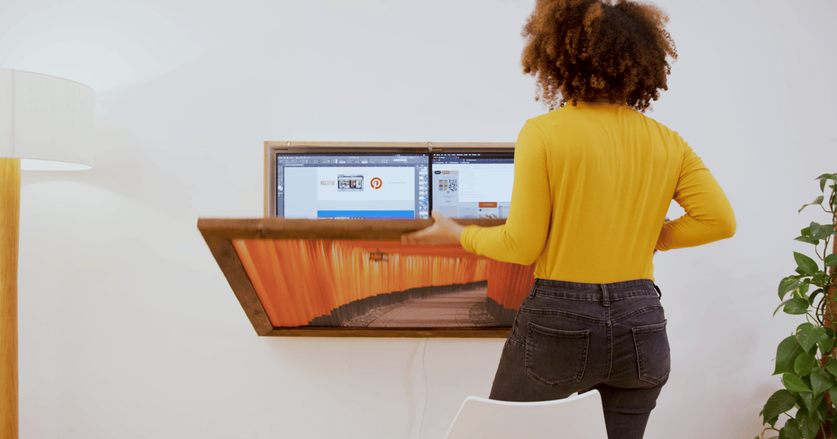 DropTop home workstation folds up into a wall-mounted art piece