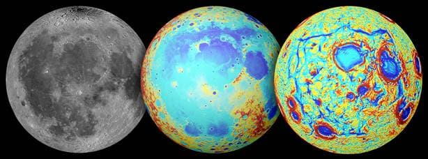 Earth's moon as observed in visible light (left), topography (center), and the GRAIL gravity gradients (right) (Image: NASA/GSFC/JPL/Colorado School of Mines/MIT
