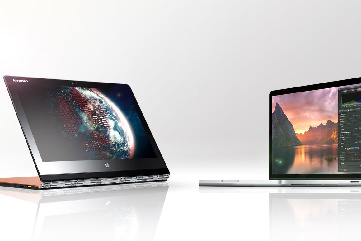 Gizmag compares the specs and features of the Lenovo Yoga 3 Pro (left) and Apple MacBook Pro with Retina Display