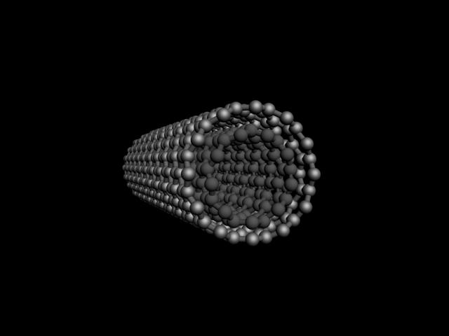 This drawing shows a double-walled carbon nanotube. Each tube is made of a rolled-up sheet of carbon that's one-atom thick (Image: Guosong Hong/Stanford University)