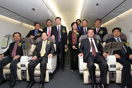 COMAC team in the prototype C919 cabin