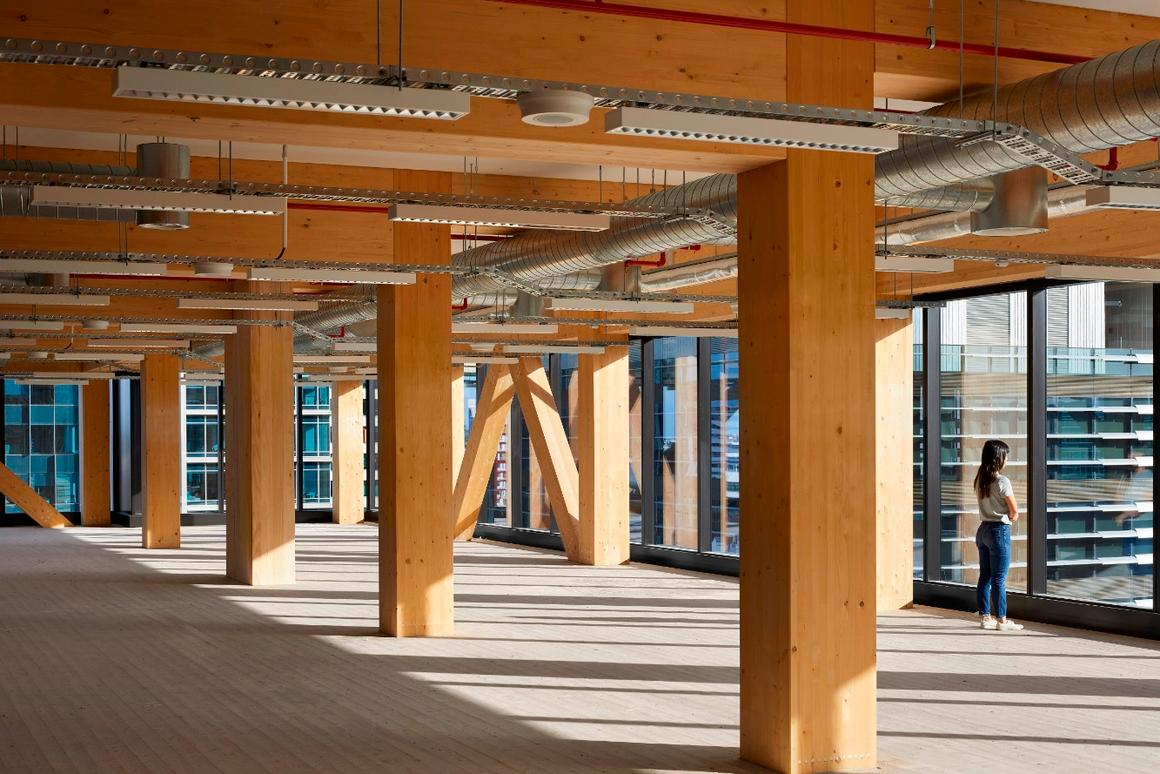 Floor-by-floor, huge exposed V-shaped columns were stacked on top of one another to support the timber slabs used for floor plates and exposed ceiling soffits inside 25 King