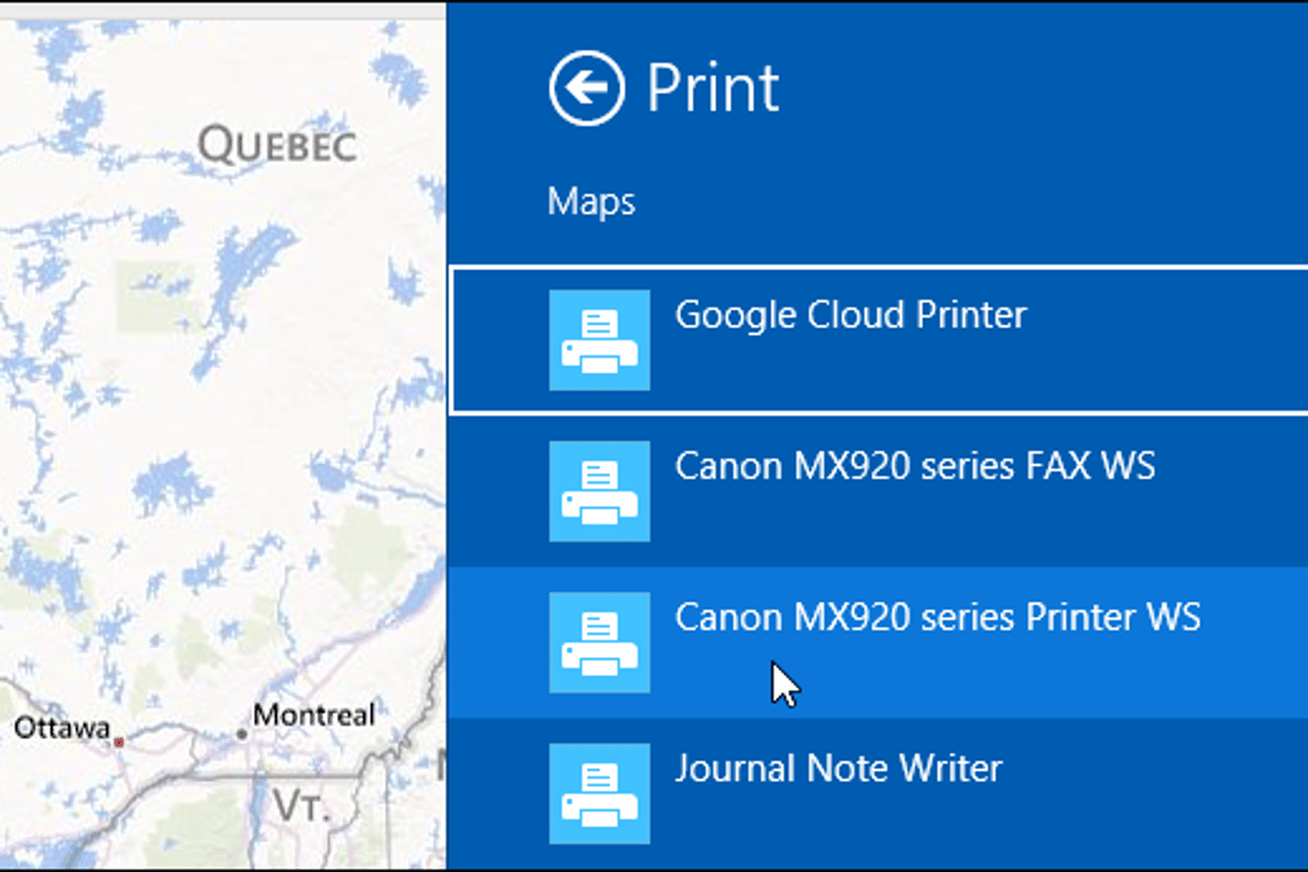 Here's how to print from Modern apps in Windows 8.1