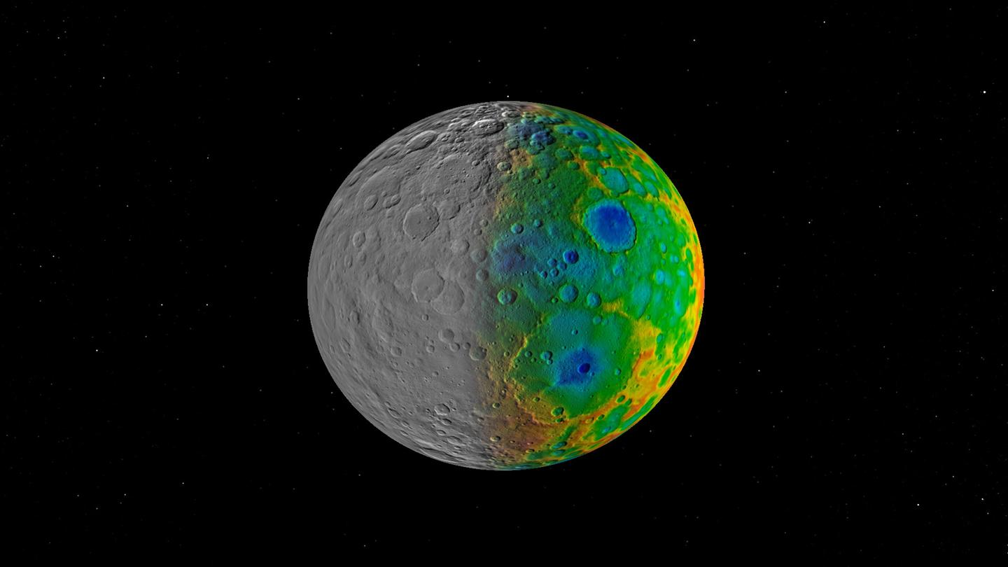 On the left is topographic imaging from the Dawn spacecraft, while the right side shows color-enhanced visible mapping data