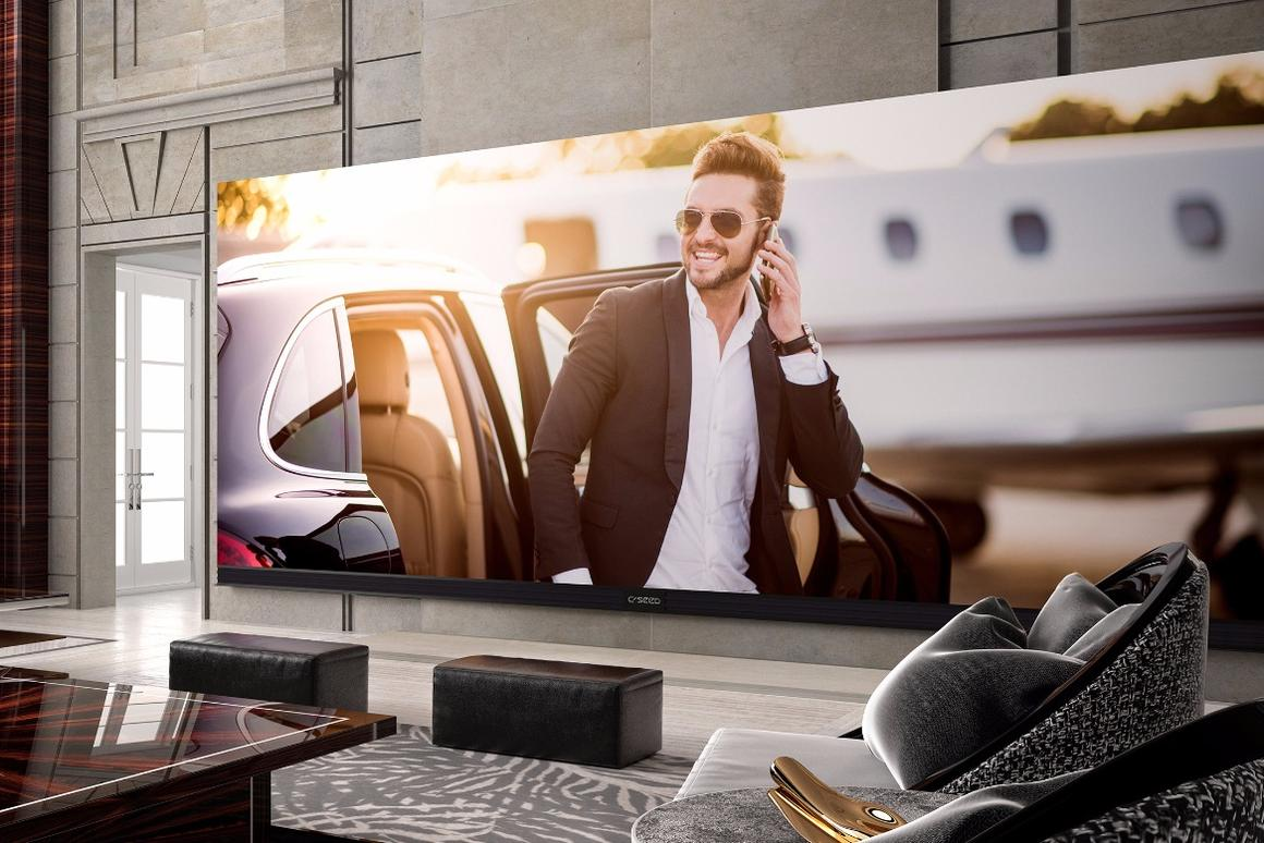 The C Seed 262 UHD TV's 262-in (6.65 m) diagonal length gives it a width of 20.16 ft (6.14) m and height of 8.44 ft (2.57 m)
