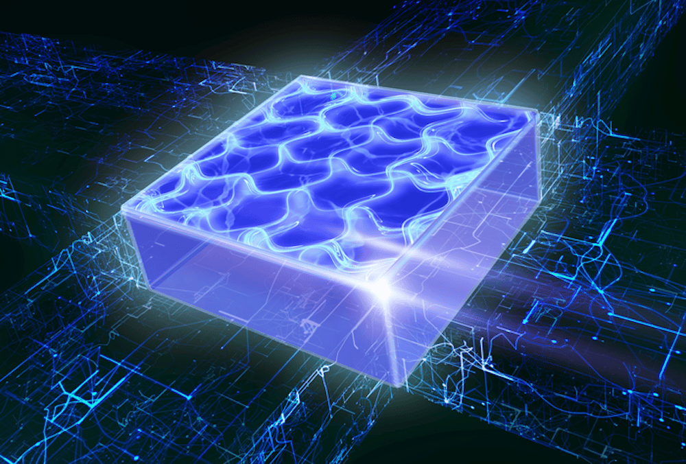 An artist's impression of a two-dimensional supersolid, where all the atoms line up in a crystalline structure like a solid but can flow freely at the same time