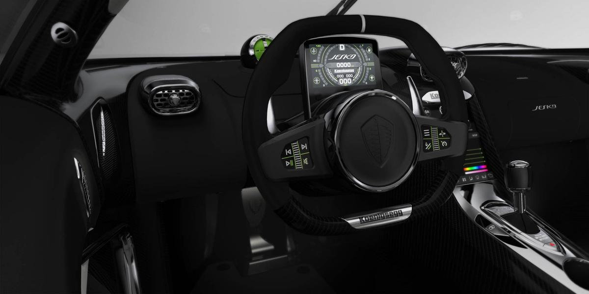 5-inch digital dash looks like a video game HUD, and the steering wheel features its own haptic touchscreen buttons