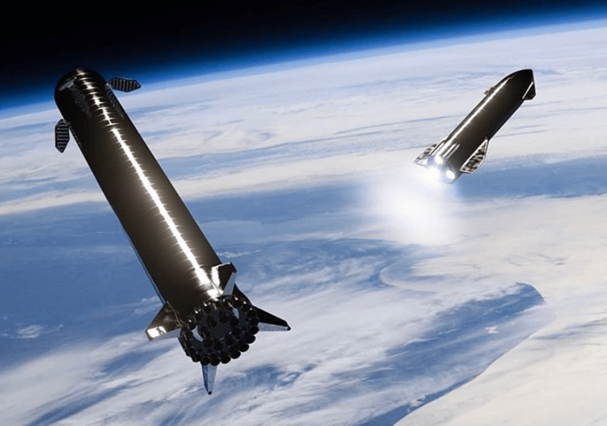SpaceX is planning to catch its Super Heavy booster (left) using the launch tower arm