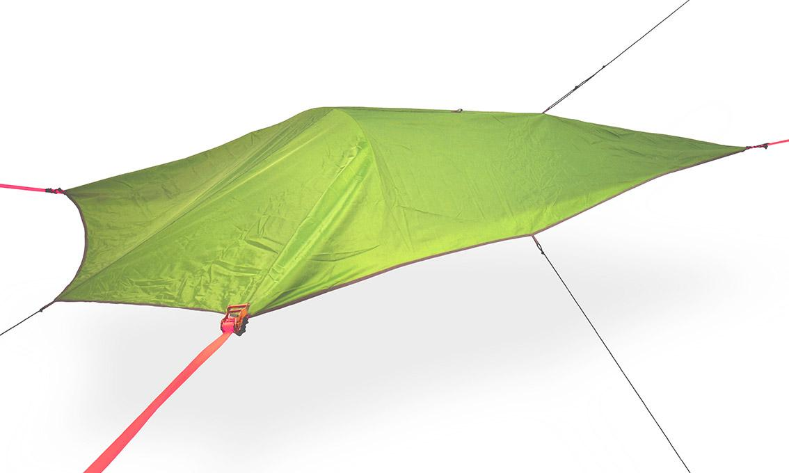 The removable rain fly can be staked out for protected coverage for the camper and his or her gear