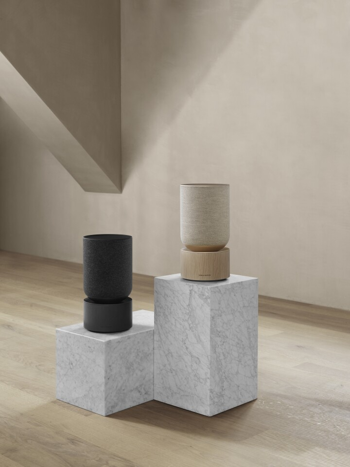 The Beosound Balance smart speaker comes in natural or black