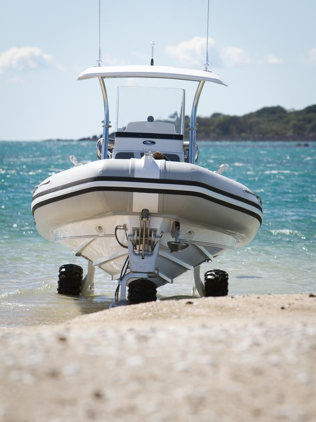 New Zealand's Smuggler Marine has also licensed the Powered by Sealegs system, having married its Strata 750 center-console RIB with the Sealegs system to create a high-performance composite amphibious vessel