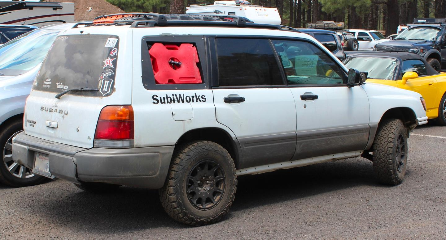 A fun thing about Overland Expo: the show starts as soon as you get out of the car. Here we saw an interesting storage solution on a rugged Subaru in the parking lot on our way to the show entrance