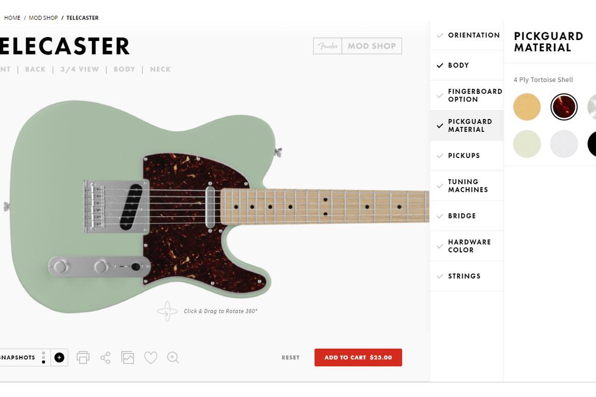 The Fender Mod Shop online design portal