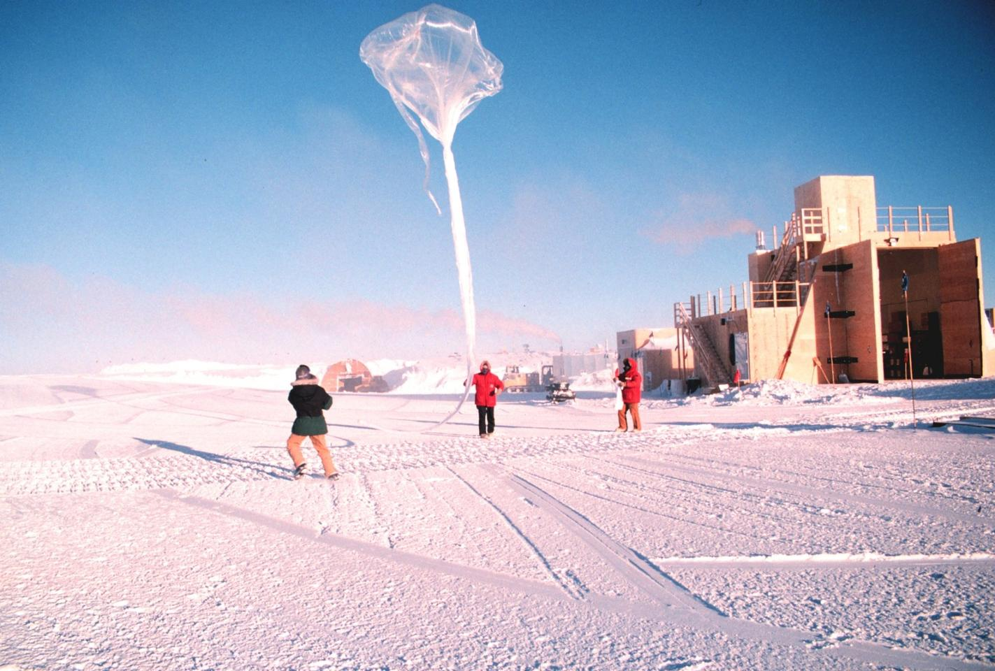 Scientists release a balloon to study the ozone layer