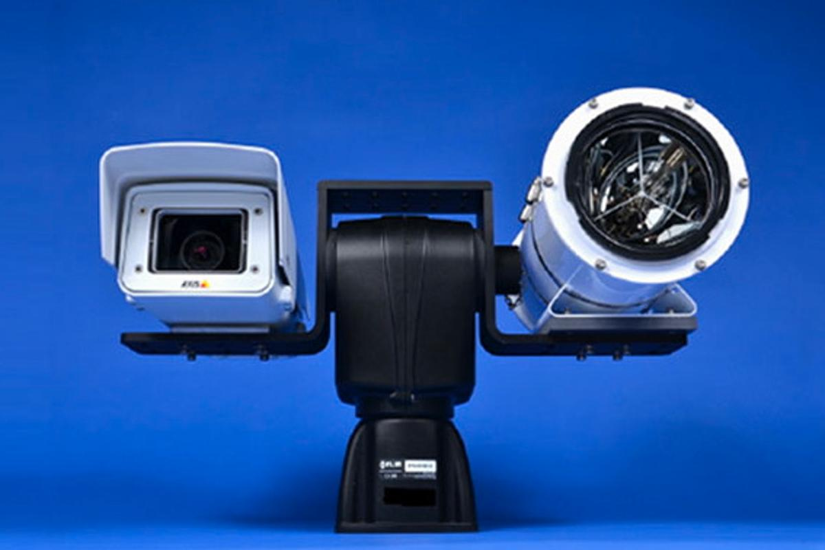 """The """"head"""" of the WatchStander system, incorporating a video camera and a 12 million candlepower spotlight"""