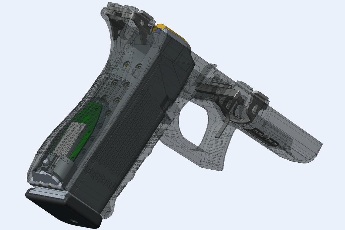 The Yardarm Sensor fits into the grip of a firearm to monitor use in real time