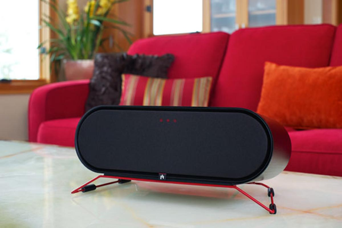 The ARIS wireless speaker for Windows plays music streamed from a Windows PC