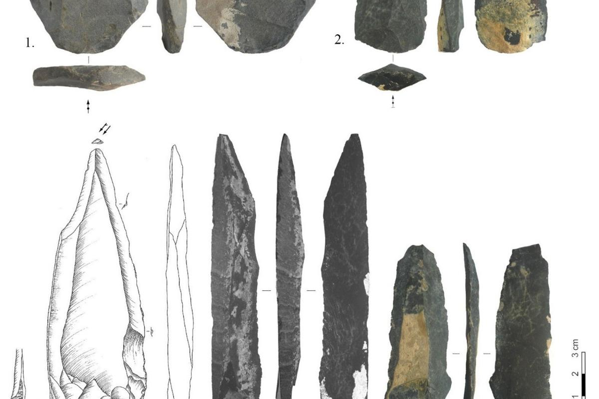 A selection of tools found at the Mongolian site Tolbor-16