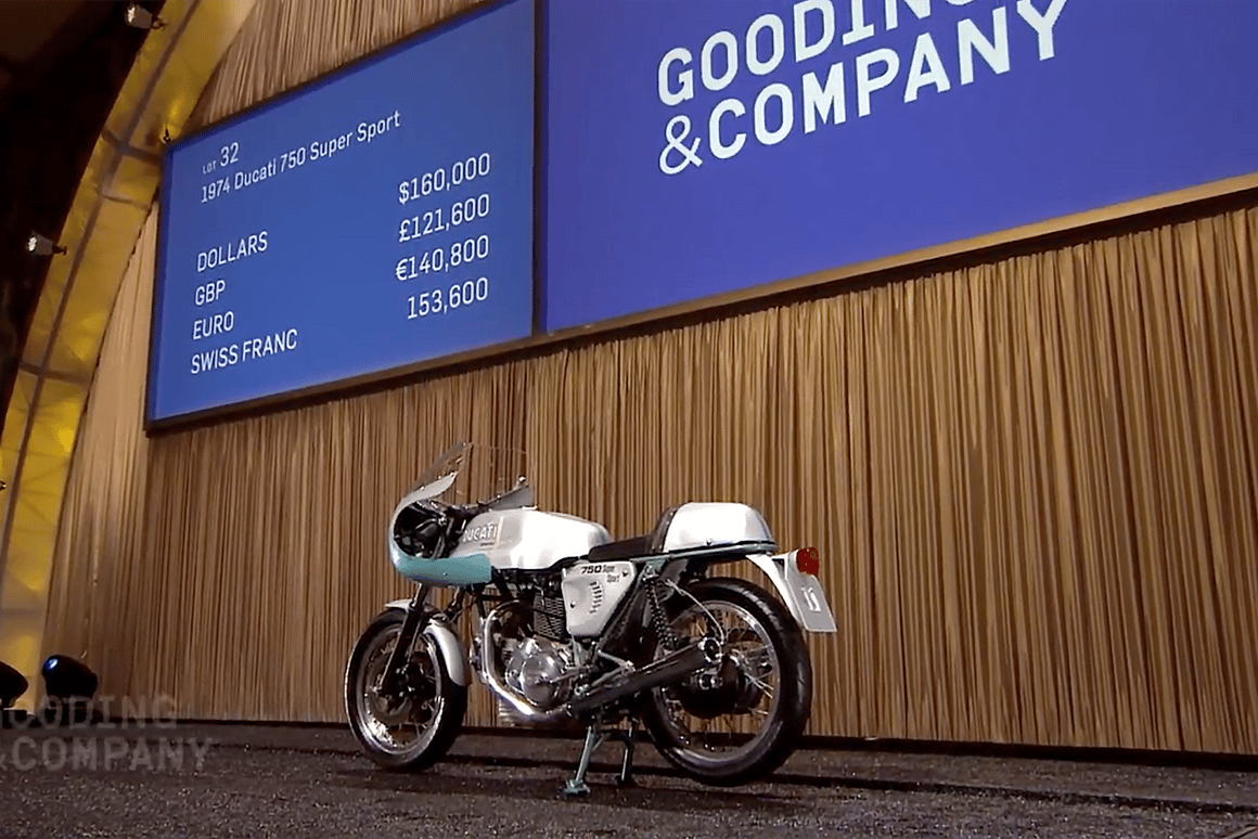 With afinal price of $176,000, this1974 Ducati 750 Supersportset anew world record for the bike which put Ducati on the map, beating out the previous record of US$152,885 (sold for EUR114,371) set at the Paris Retromobile auctions in February, 2013 byArtcurialand moving the 750 SS into a price bracket previously only achieved by DucatiNCR race bikes (but still well belowthe two Desmosedicis sold by RM in 2012.)