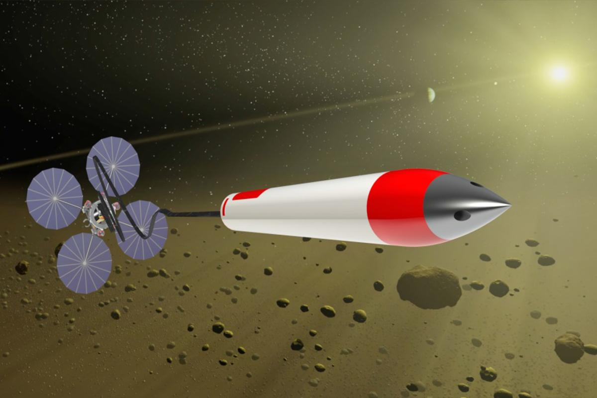 A sampling spacecraft launching a penetrator missile (Image: NASA)