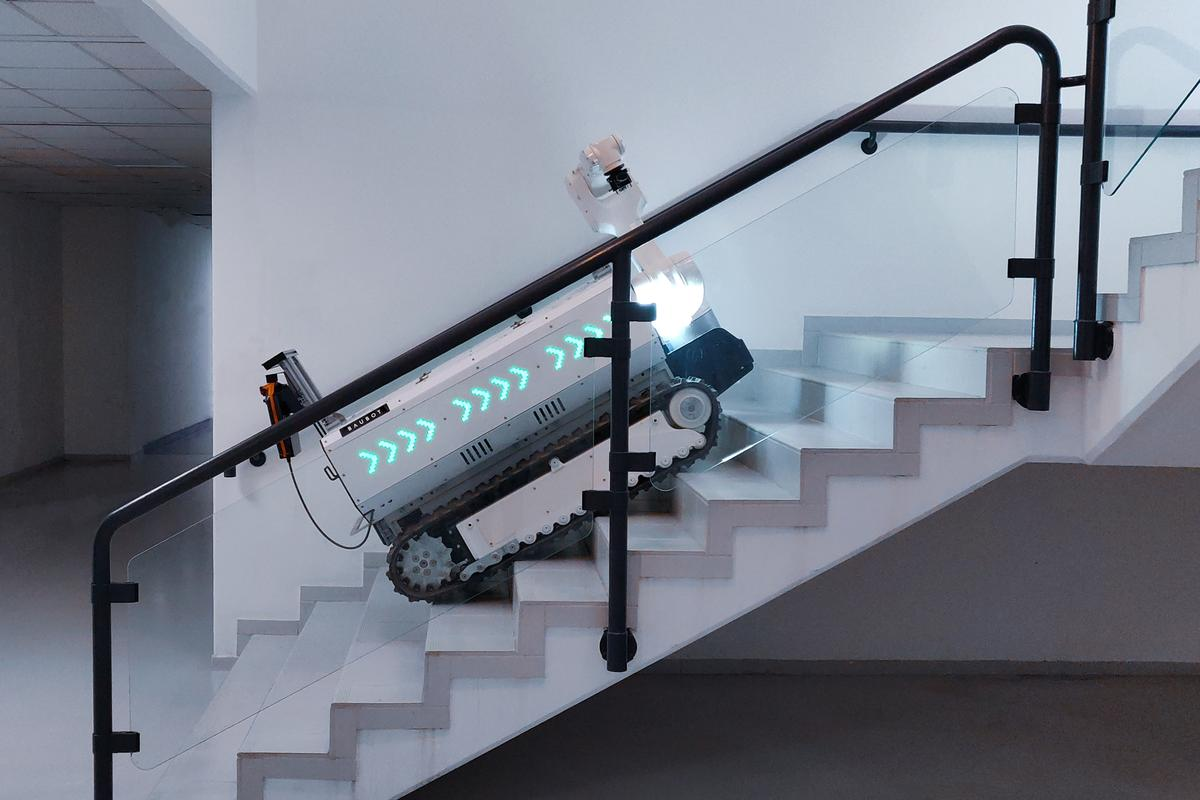 The electric-drive Baubot is designed to go where it's needed, even if that means trundling up and down stairs
