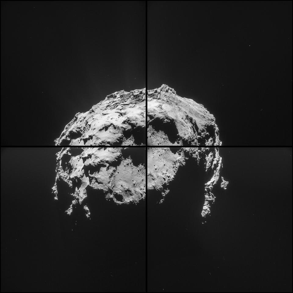 Four-image montage of comet 67P/Churyumov–Gerasimenko comprising images taken on 14 February 2015 (Image: ESA/Rosetta/NavCam)