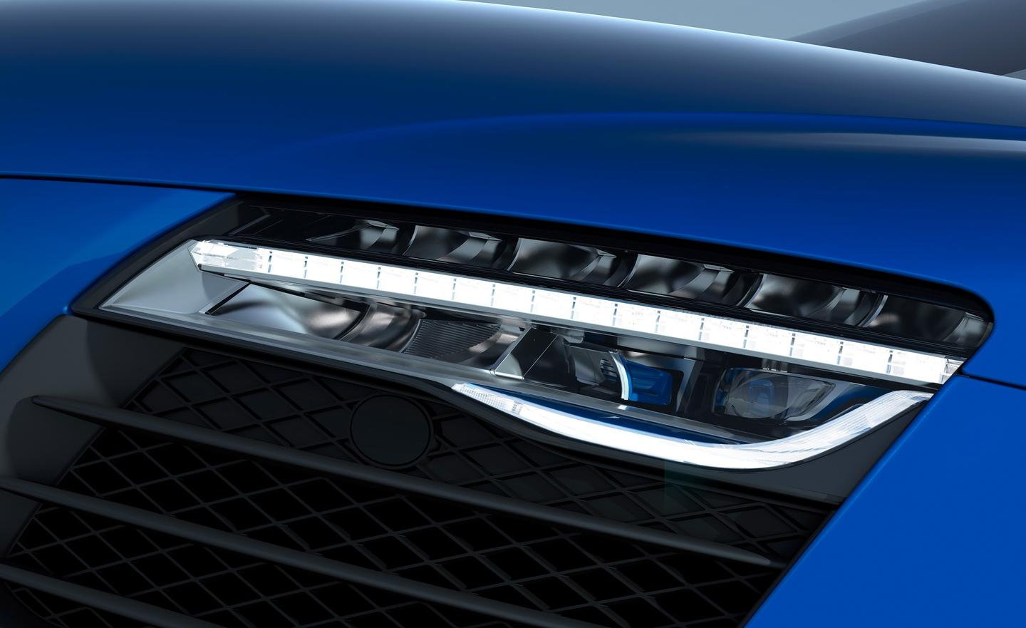 Audi says the laser high beams offer double the range of LEDs