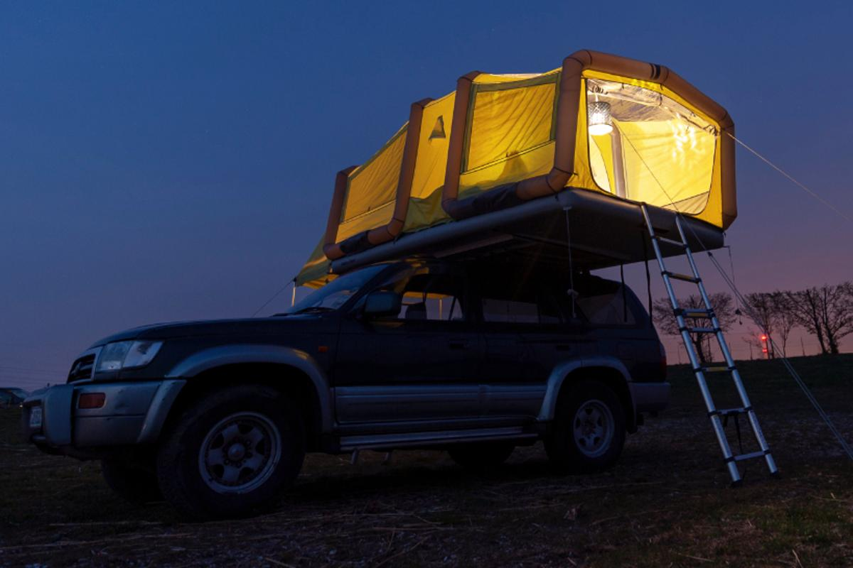 Gentletent Supersizes Its Inflatable Roof Top Tent Into A Two Room Glamping Oasis