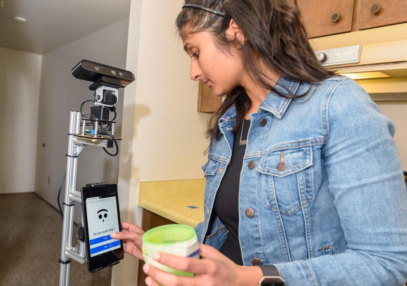 The assistive robot features a tablet interface