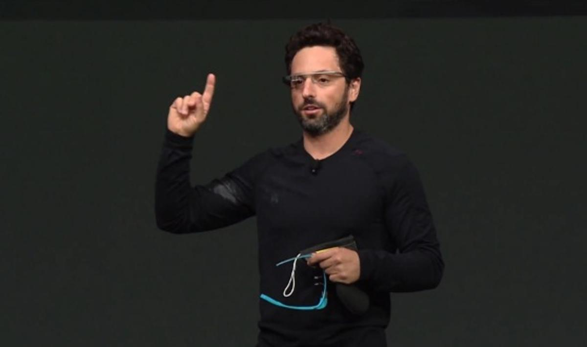 Google co-founder Sergey Brin demonstrates Project Glass on stage at the Google I/O developers conference