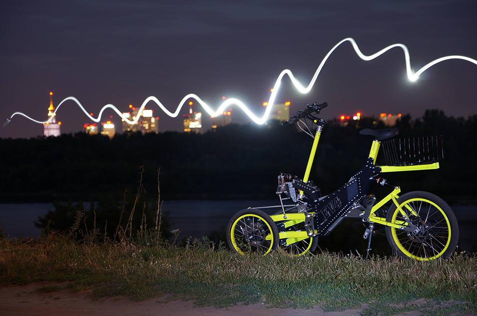 EV4 trike by night, though there are no lights on the electric-assist three-wheeler
