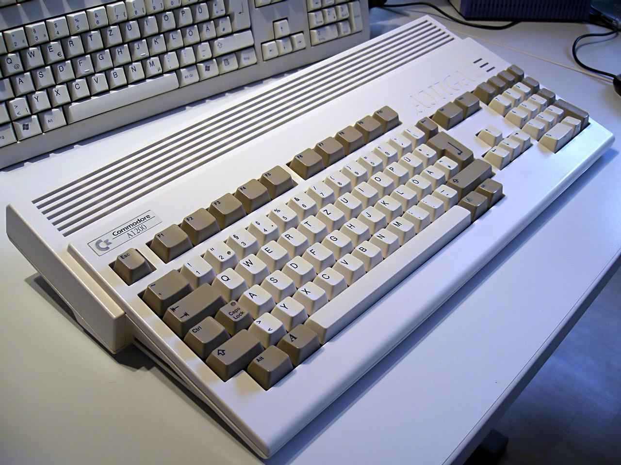 An Amiga 1200, originally issued in 1992 with a Motorola 68EC020 14MHz processor and 2MB of RAM