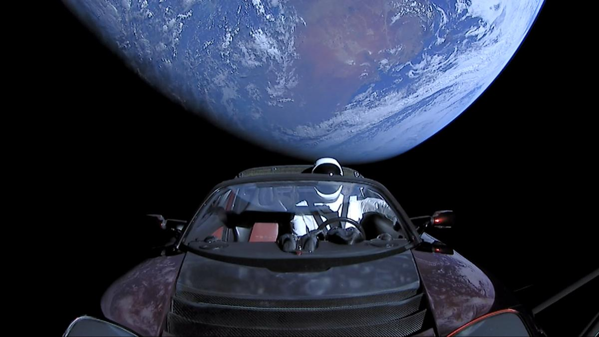 The Roadster passing the terminator