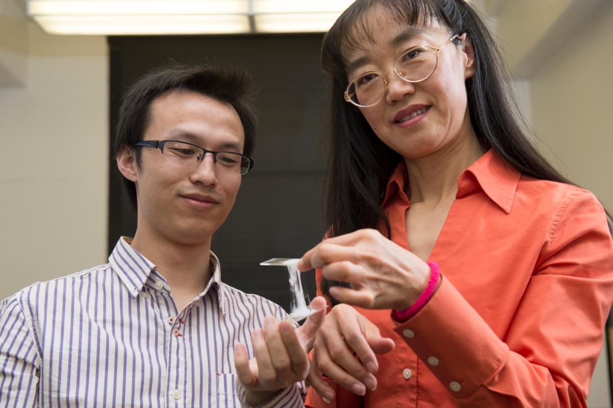 Yu Wang and Katie Zhong, with their gum-inspired electrolyte