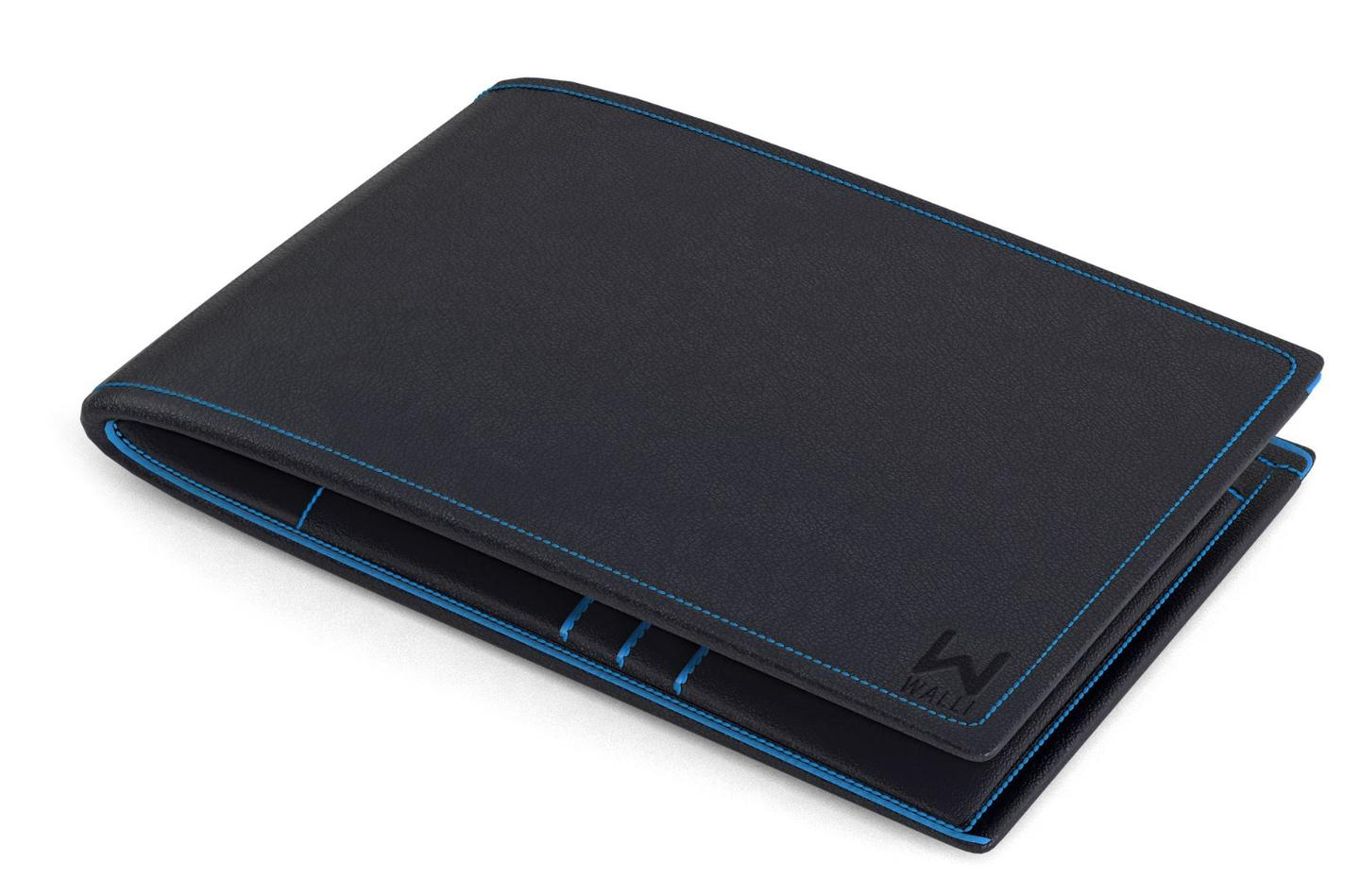 Walli is made from genuine leather and is available in both black and blue