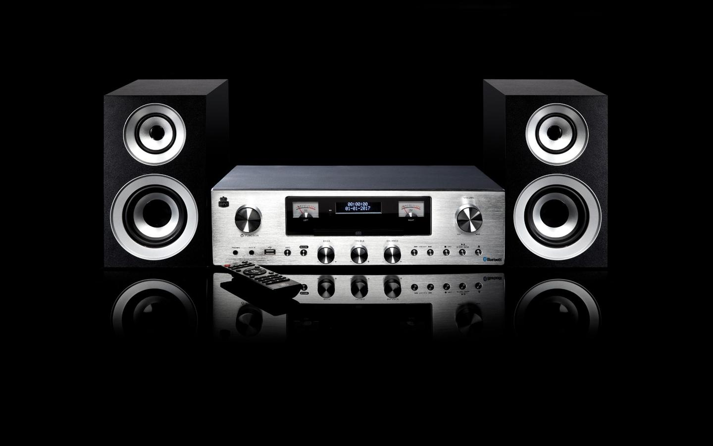 The amp/music player combo PR200 (and included speakers)from retro audio gear maker GPO