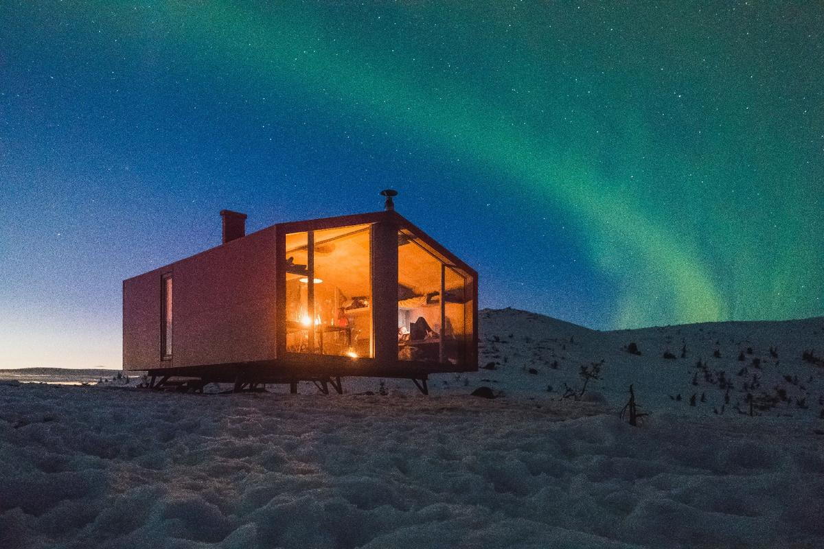 A large window offers views of the frigid tundra and, when conditions are right, the northern lights can be seen too