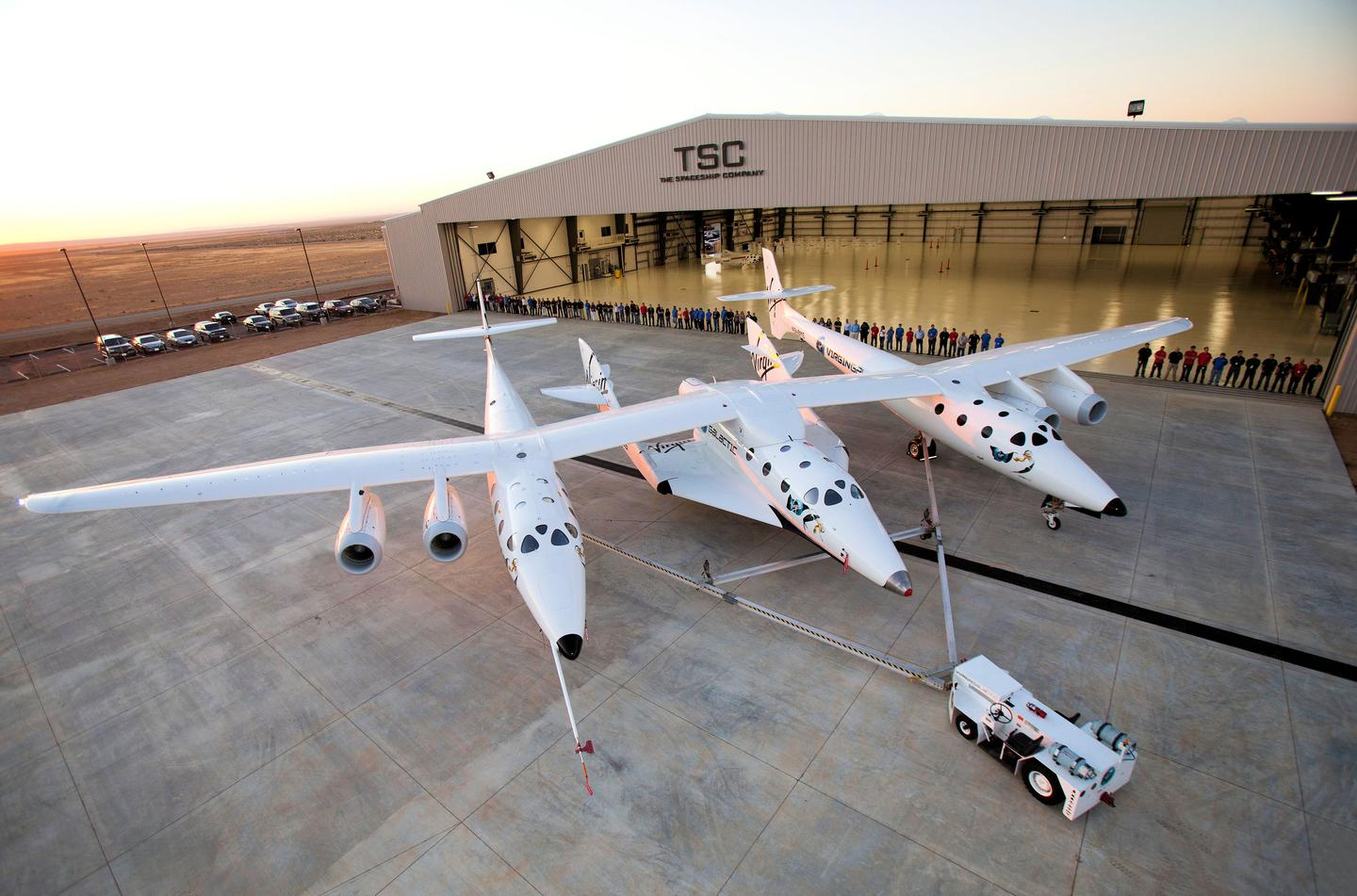 White Knight Two and SpaceShipTwo being towed to the runway (Photo: Virgin Galactic)