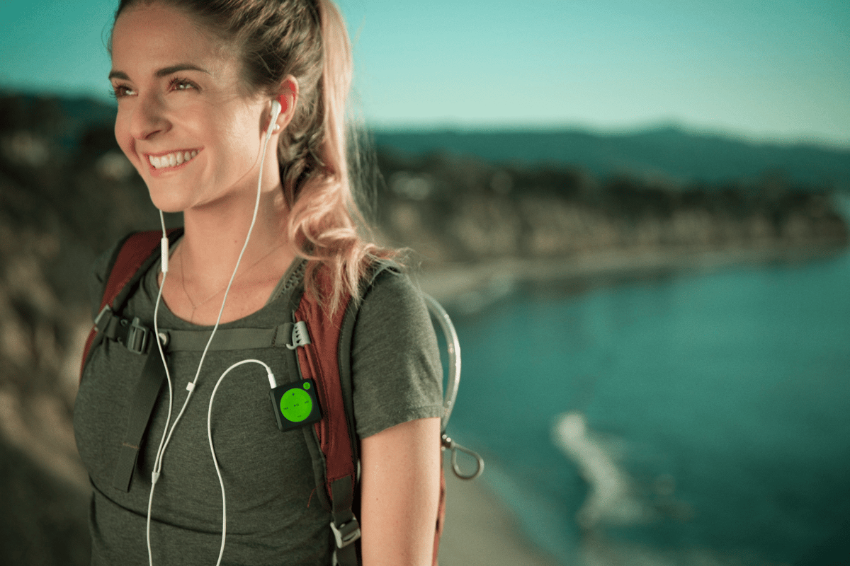 Mighty is a small clip-on music listening device that stores tracks from Spotify playlists