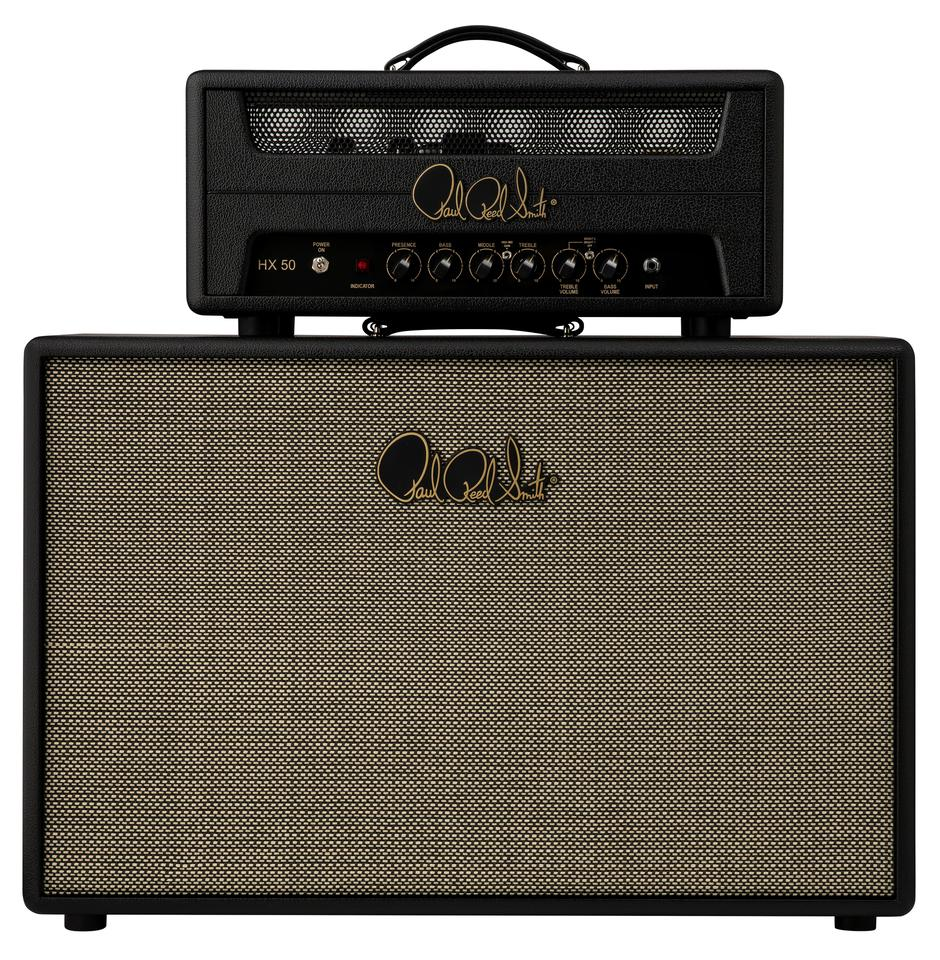 The HX50 is a two-channel 50-watt amp head with two power tubes and three preamp tubes, pictured here with a matching HX 2x12 cabinet with two Celestion G12H-75 Creamback speakers