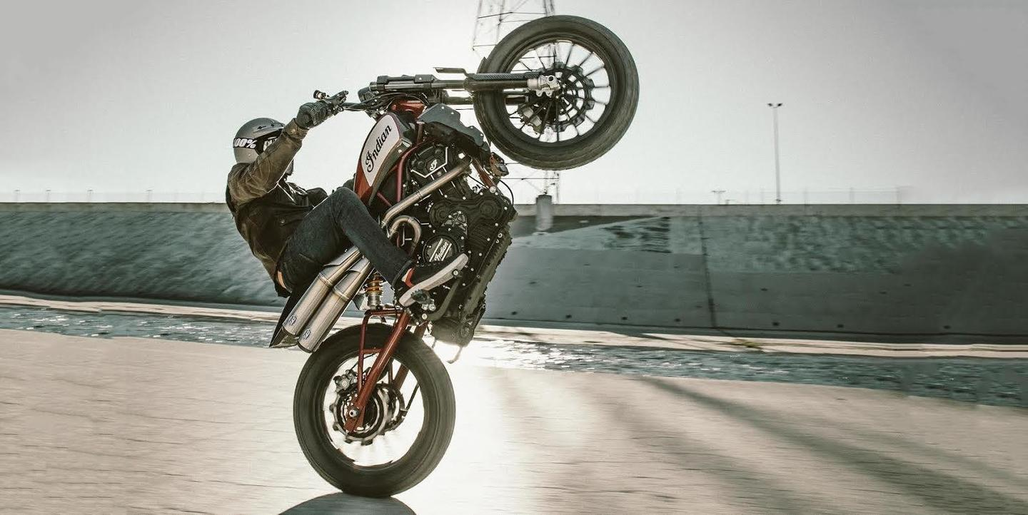 Front wheels high for the magnificent Indian Scout FTR1200 concept