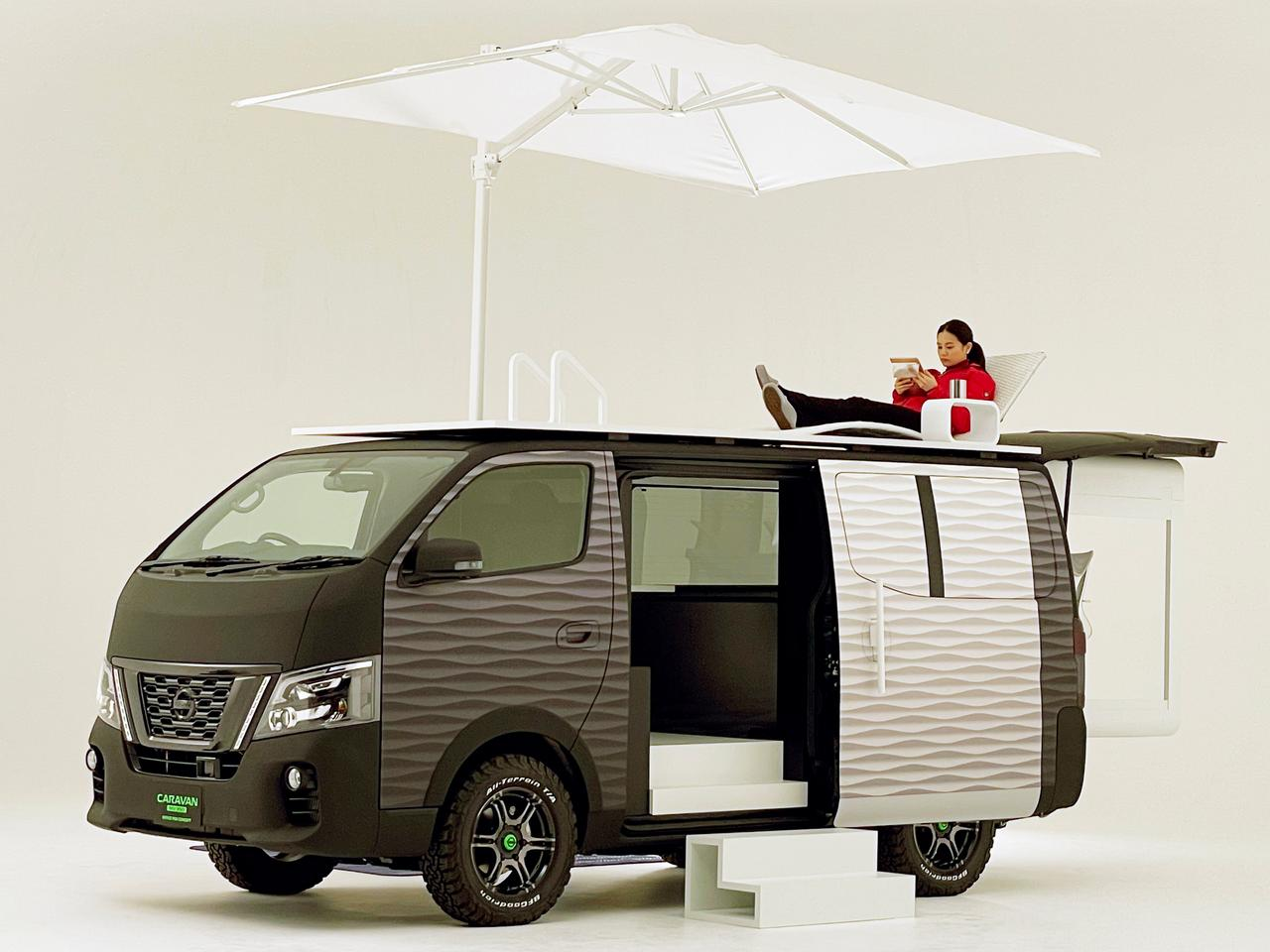 Whether working hard or hardly working, the Nissan NV350 provides a comfortable private office space in the wild