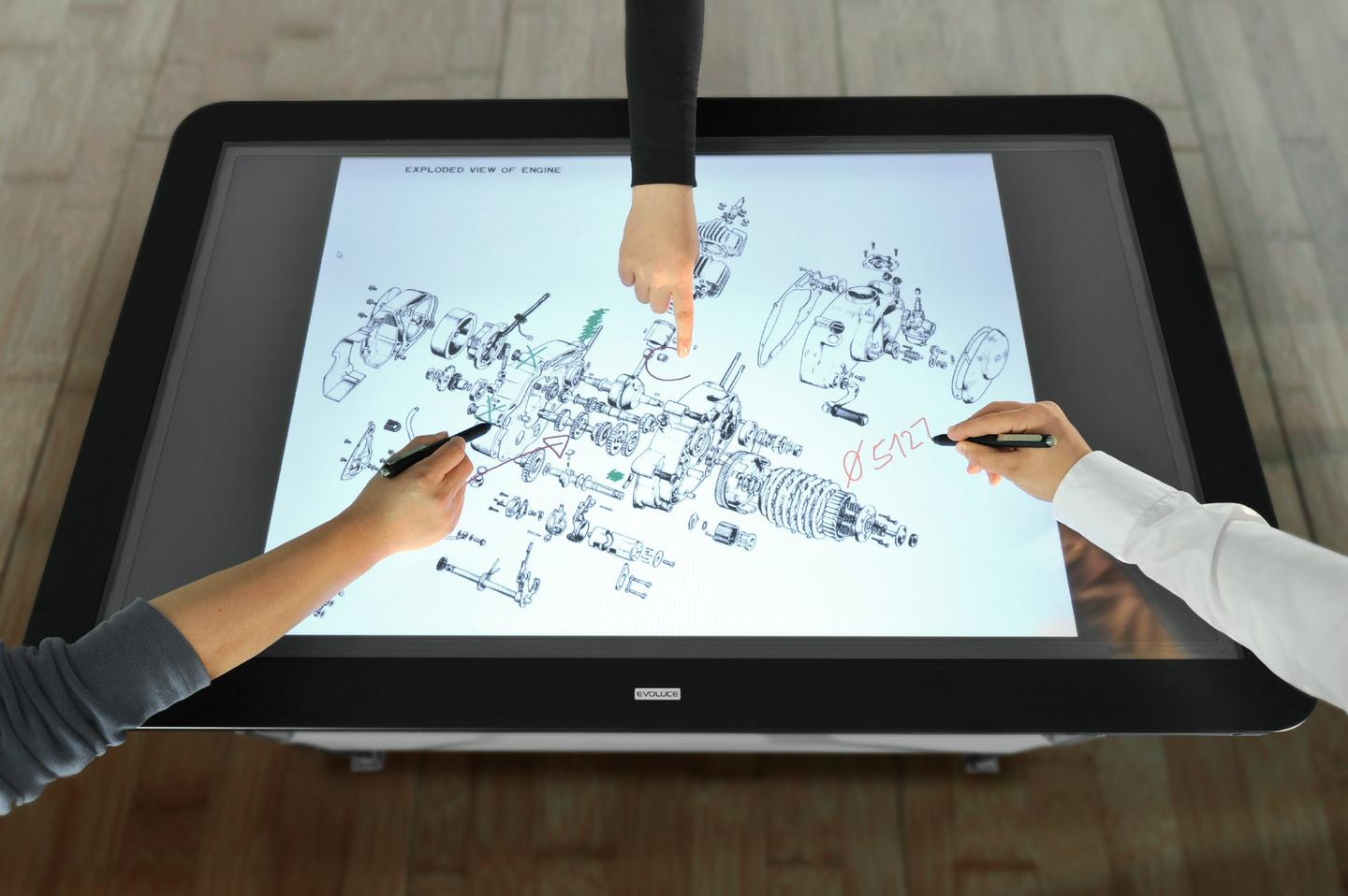 The interface can register unlimited contact points from both stylus and human touch, useful in the design process
