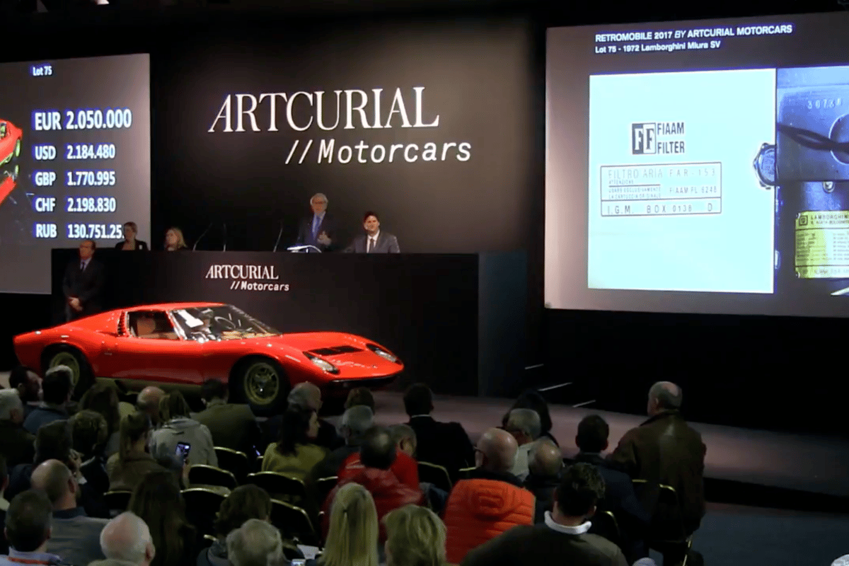 One of the stars of the Artcurial show was this 1972 Lamborghini Miura SV which fetched €2,388,400 against an estimate of €2,200,000 to €2,600,000