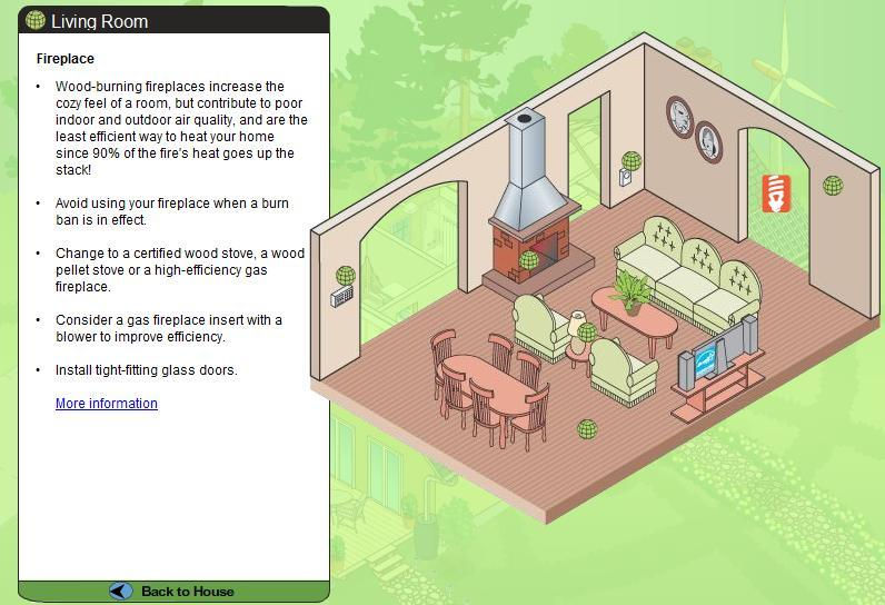 Clicking on household items such as a fireplace or light switch will open up a window of suggestions for improving them