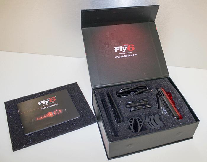 The Fly6 package includes camer/light, seat post mounts, straps, spacers, a USB cable and an 8 GB microSD card