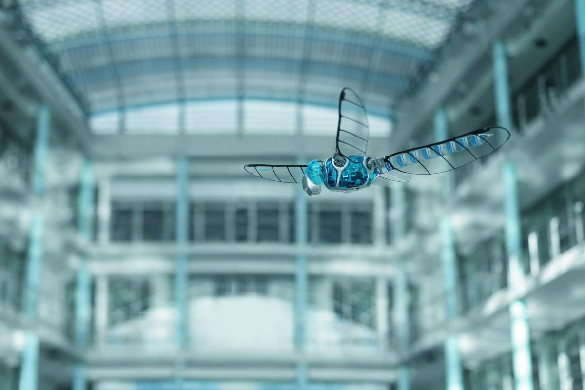 The BionicOpter robot dragonfly is capable of maneuvering in all directions, hovering in mid-air and gliding without beating its wings