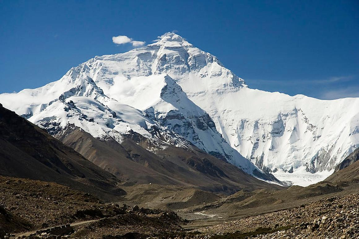 Mount Everest in the Himalayas, part of the Third Pole region of ice and snow